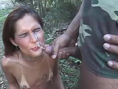 Shemale gets cum outdoor after fuck