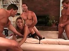 Blond tgal gets cum after group sex