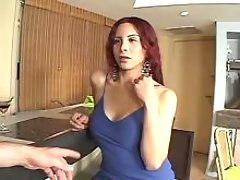 Busty shemale in blue seducing dude