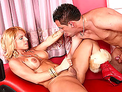Big titted shemale rimming hot horny hunk