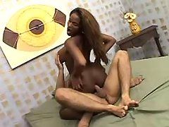 Skilful ebony tranny fucked by dude