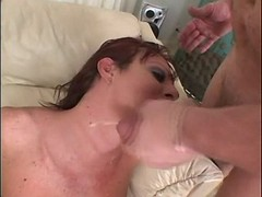 Tranny gets cumshot after oral orgy