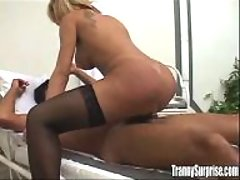 Appetizing blonde TS fucks on chair