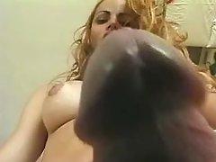 Classy trans bitch mouthfucks girl