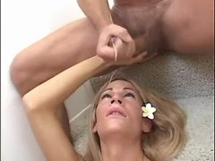 Lustful shemale gets facial in orgy