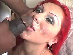 Lustful shemale gets facial cumshot