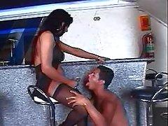 Brunette TS gets blowjob from bloke