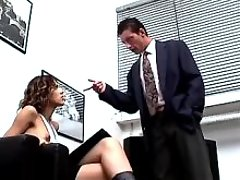 Shemale hides her big cock for boss