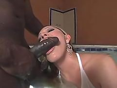 Hot shemale throats huge black cock