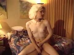 Blond shemale gets facial after sex