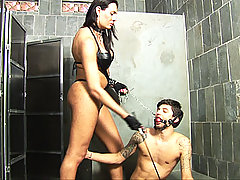 Dominant shemale controls her man slave