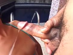 Latin tranny gets cum after blowjob
