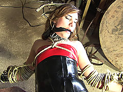 Tranny tied up in ropes and forced to suck cock