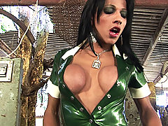 Big dick tgirl crams her cock into a huge pipe