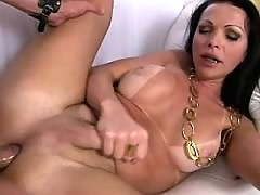 Pretty shemale with delicious body gets cum on ass