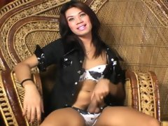 Asian-beauty Dinise is back to give us another taste of her massive tranny cock. The blue-eyed shemale is going to make you go mad when she rubs one o