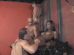 Beautiful black tranny in wild orgy