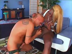 Ebony shemale gets blowjob from guy