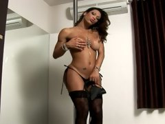 How could you make a well-endowed shemale solo video any better? How about by adding a stripper pole? Look out Tranny Poppers fans, weve r